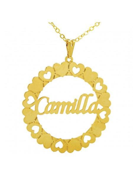 Gargantilha Pingente Mandala Manuscrito CAMILLA Banho Ouro 18 K - 1060071
