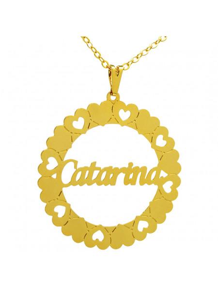 Gargantilha Pingente Mandala Manuscrito CATARINA Banho Ouro 18 K - 1060074