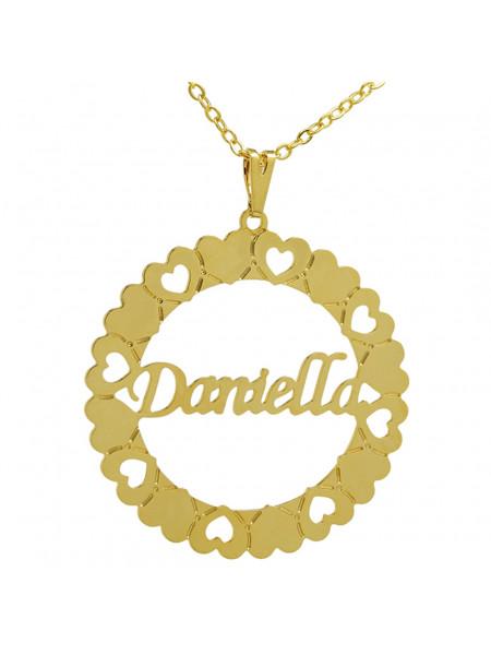 Gargantilha Pingente Mandala Manuscrito DANIELLA Banho Ouro 18 K - 1060075