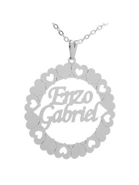 Gargantilha Pingente Mandala Manuscrito ENZO GABRIEL Banho prata 1000 - 2060107