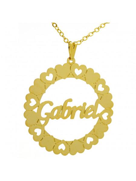 Gargantilha Pingente Mandala Manuscrito GABRIEL Banho Ouro 18 K - 1060042