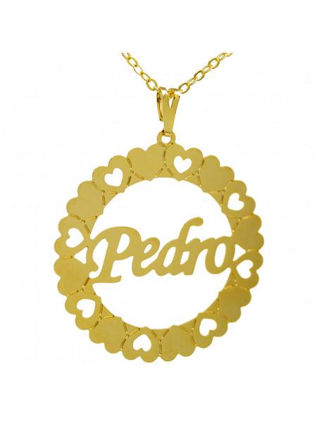Gargantilha Pingente Mandala Manuscrito PEDRO Banho Ouro 18 K - 1060054