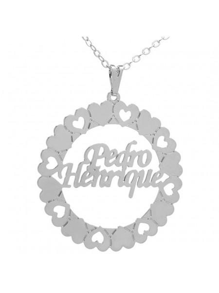 Gargantilha Pingente Mandala Manuscrito PEDRO HENRIQUE Banho prata 1000 - 2060122