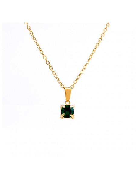 Gargantilha Ponto De Luz Verde Esmeralda Banhada Ouro 18 K - 1060158