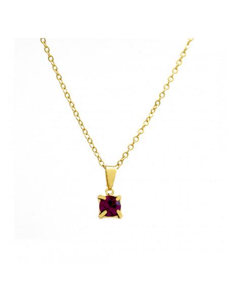 Gargantilha Ponto De Luz Rosa Pink Banhada Ouro 18 K - 1060157