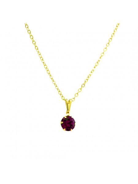 Gargantilha Ponto De Luz Rosa Pink Banhada Ouro 18 K - 1060152