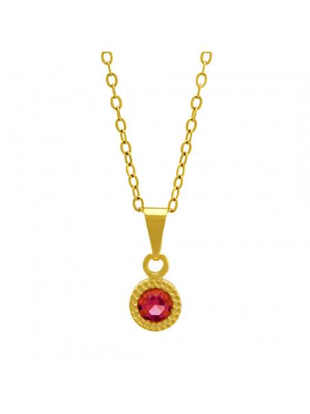 Gargantilha Ponto Luz Redondo Rosa Banhada Ouro 18 K - 1061111
