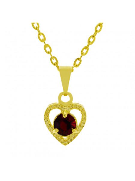 Gargantilha Ponto Luz Coração Horus Import Vermelho Rubi Banhada Ouro 18 K - 1061126