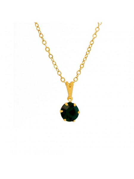 Gargantilha Ponto De Luz Verde Esmeralda Banhada Ouro 18 K - 1060153