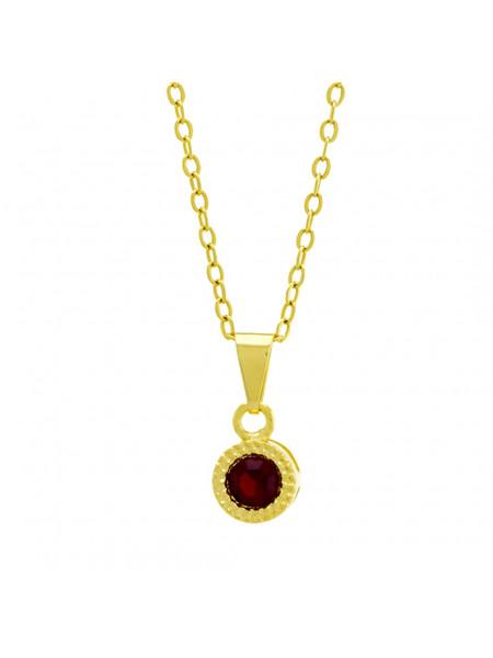 Gargantilha Ponto Luz Redondo Vermelho Rubi Banhada Ouro 18 K - 1061108