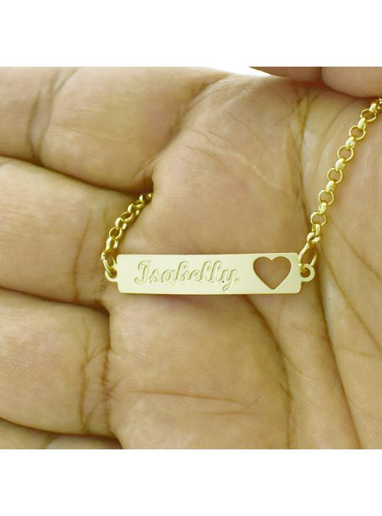 Pulseira Feminina Nome Isabelly Banhada Ouro 18K - 1080215