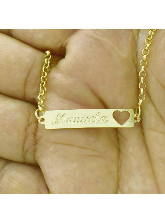 Pulseira Feminina Nome Manuela Banhada Ouro 18K - 1080220