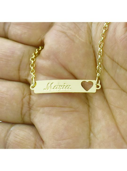 Pulseira Feminina Nome Maria  Banhada Ouro 18K - 1080221