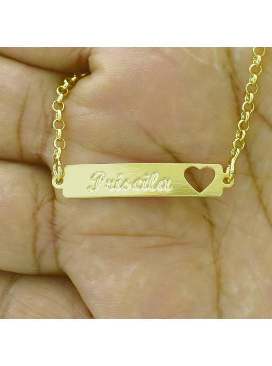 Pulseira Feminina Nome Priscila Banhada Ouro 18K - 1080228