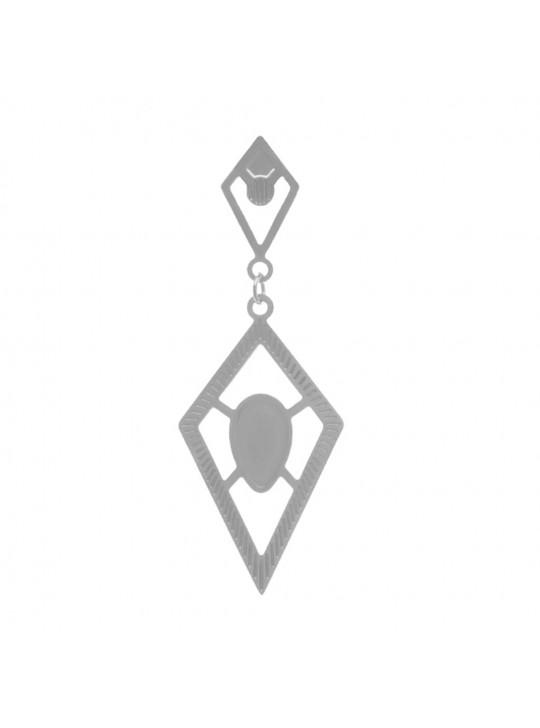 Brinco Trabalhado Cristal Vazado Banhado Em Prata - 2030007