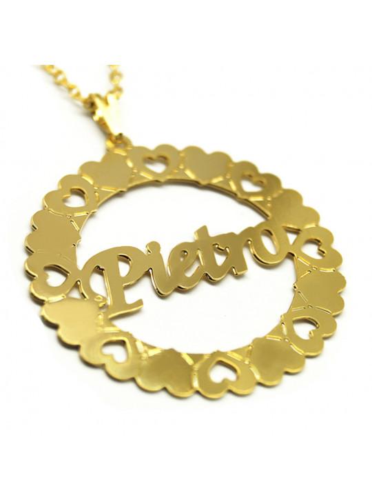 Gargantilha Pingente Mandala Manuscrito PIETRO Banho Ouro 18 K - 1060056