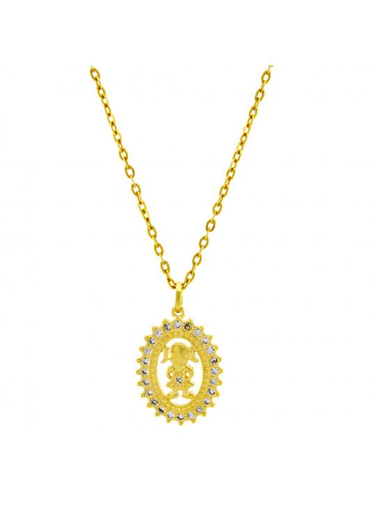 Gargantilha Horus Import Girl Cravejada Zircônia Banhada Ouro Amarelo 18 K - 1061169