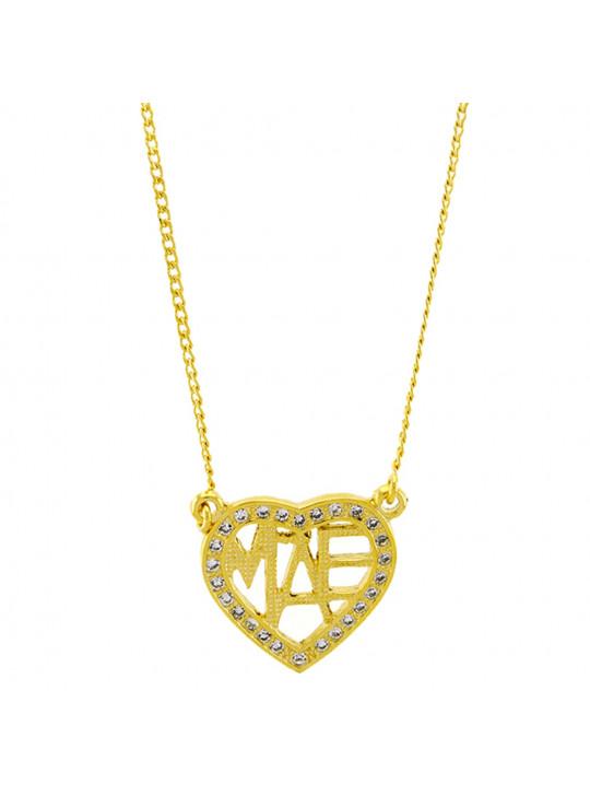 Gargantilha Horus Import Coração Pedra Zircônia Banhada Ouro Amarelo 18 K - 1061158