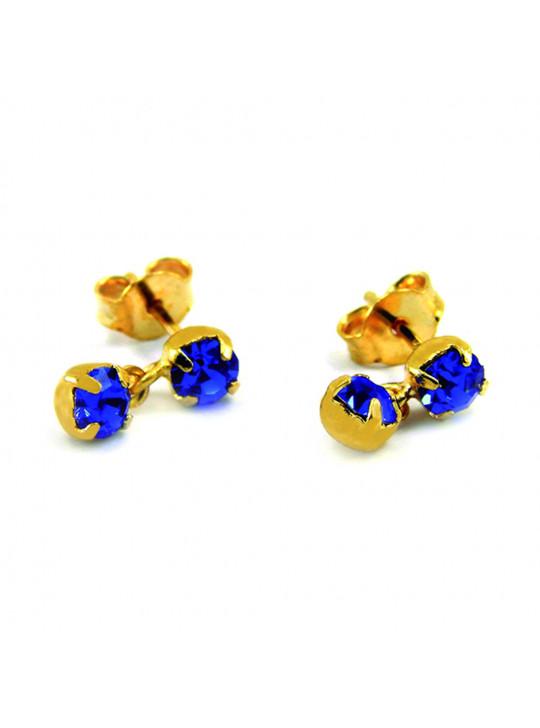 Par Brincos Pingente Azul Topázio Banhado Ouro 18 k - 1030001