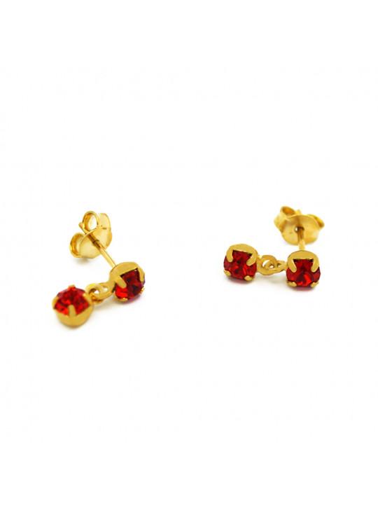 Par Brincos Horus Import Pingente Vermelho Rubi Banhado Ouro 18 k - 1030014