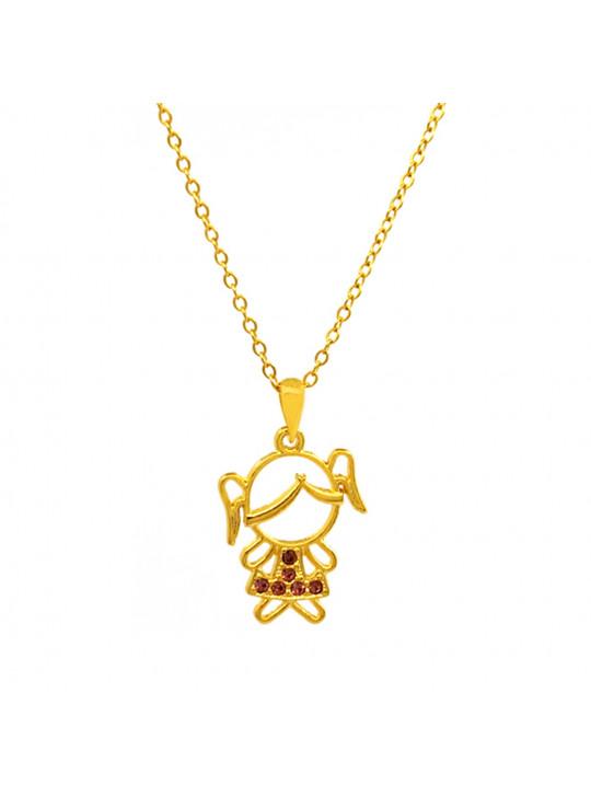Gargantilha Horus Import Pingente Minha Menina Querida - Banhado Ouro 18K - 1060121