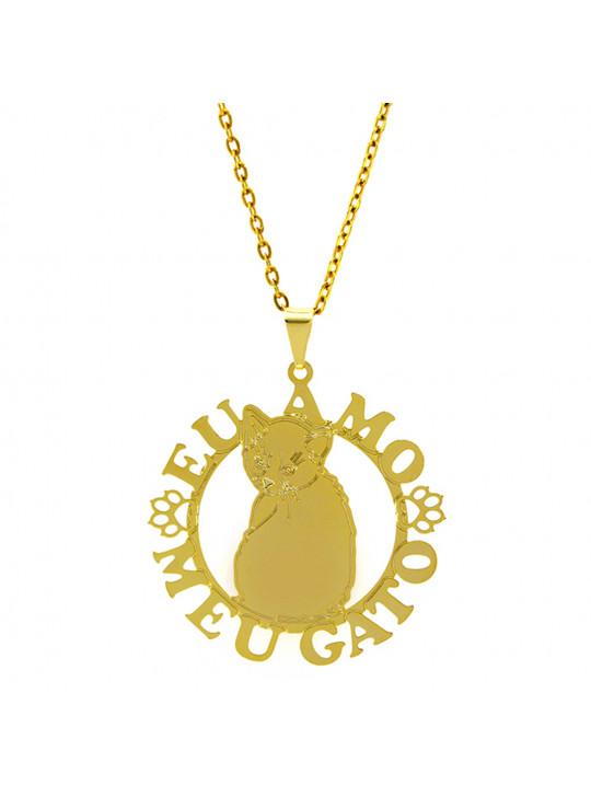 Gargantilha Horus Import Eu Amo Meu Gato 2 Banhada Ouro Amarelo 18 K 1060169