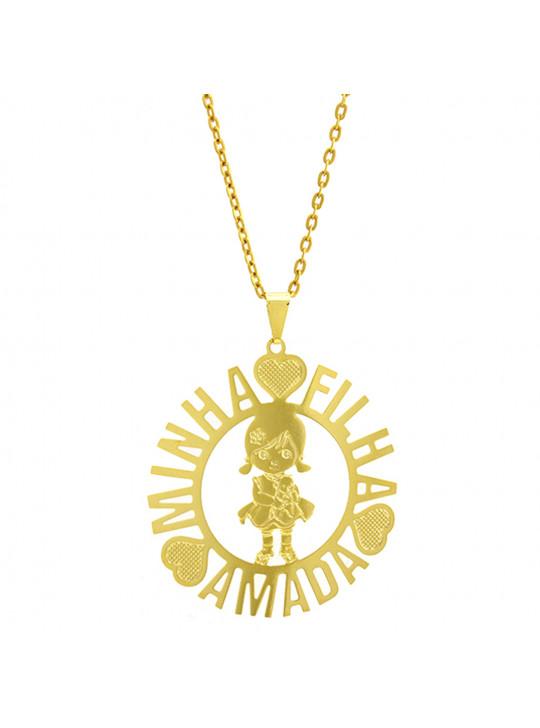 Gargantilha Horus Import Minha Filha Amada Banhada Ouro Amarelo 18 K 1060171