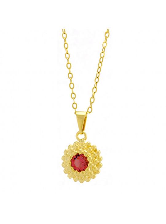 Gargantilha Horus Import Ponto Luz Flor Rosa Banhada Ouro 18 K - 1061123