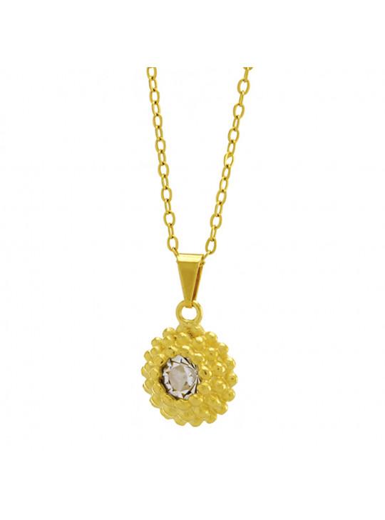 Gargantilha Horus Import Ponto Luz Flor Cristal Banhada Ouro 18 K - 1061124