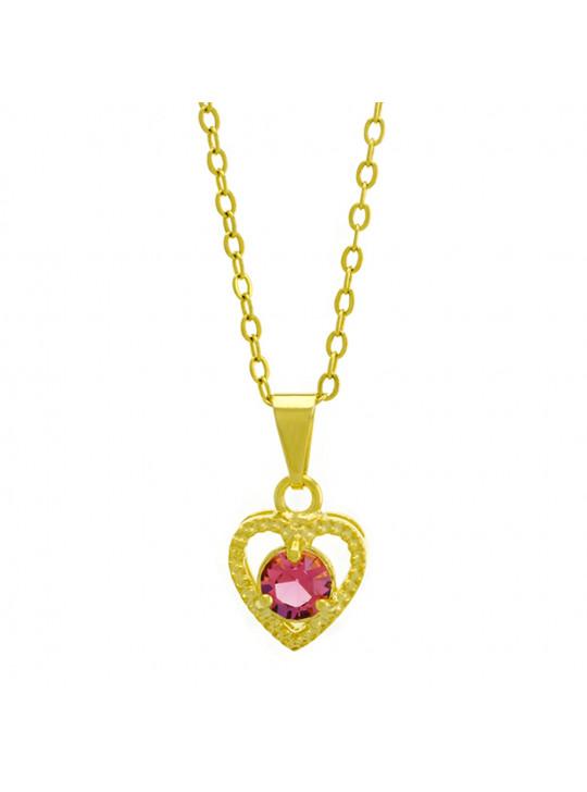 Gargantilha Horus Import Ponto Luz Coração Rosa Banhada Ouro 18 K - 1061129