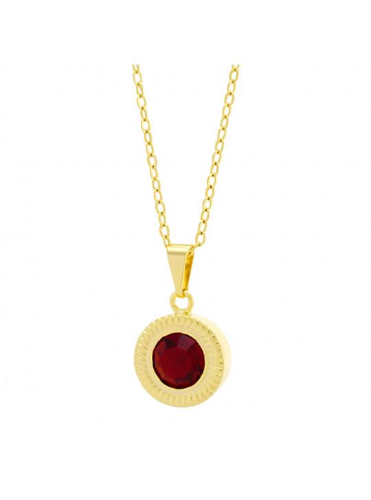 Gargantilha Horus Import Ponto Luz Eye Vermelho Rubi Banhada Ouro 18 K - 1061132