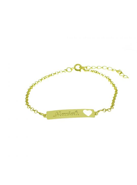 Pulseira Feminina Nome Mariah Banhada Ouro 18K - 1080222