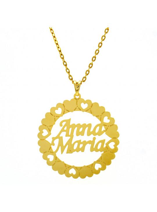 Gargantilha Pingente Mandala Manuscrito ANNA MARIA Banho Ouro 18 K - 1060229