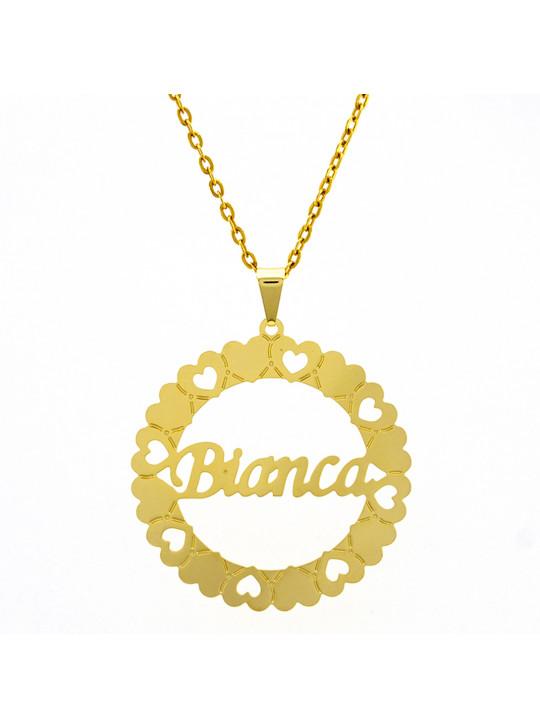 Gargantilha Pingente Mandala Manuscrito BIANCA Banho Ouro 18 K - 1060230
