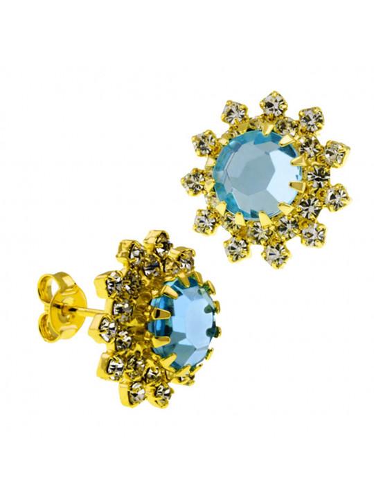 Par Brincos Girassol Aquamarine Banhado Ouro Amarelo 18K 1030038