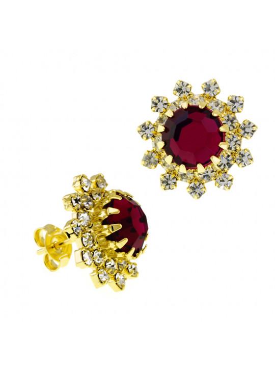 Par Brincos Girassol Rosa Pink Banhado Ouro Amarelo 18K 1030040