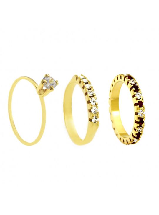 Conjunto Anel Solitário Aparador Aliança Vermelho Rubi Banhado Em Ouro 18 K - KIT16469