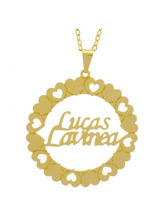 Gargantilha Pingente Mandala Manuscrito LUCAS LAVINEA Banho Ouro Amarelo 18 K - 1061364