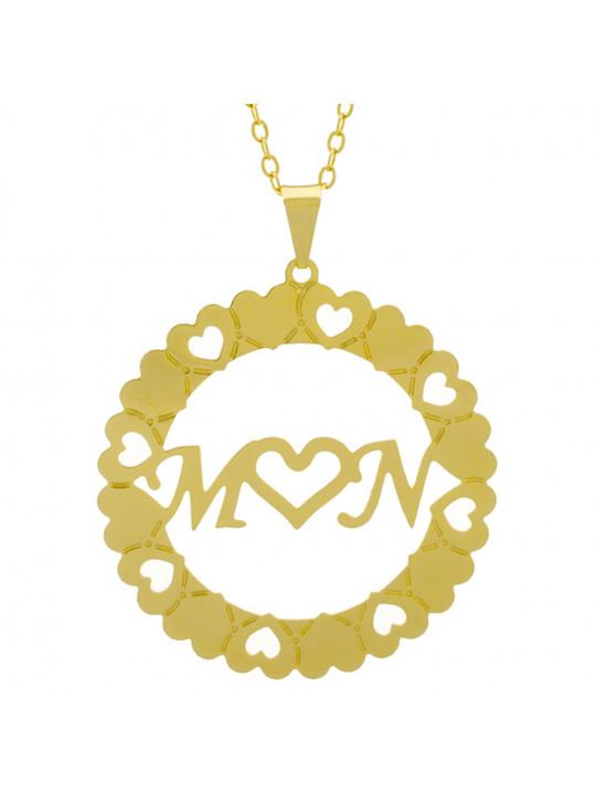 Gargantilha Pingente Mandala Manuscrito M ♥ N Banho Ouro Amarelo 18 K - 1061373