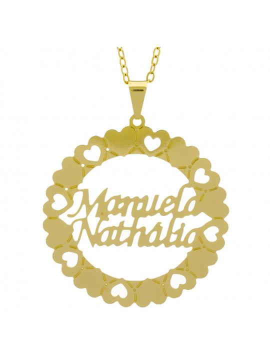 Gargantilha Pingente Mandala Manuscrito MANUELA NATHÁLIA Banho Ouro Amarelo 18 K - 1061374