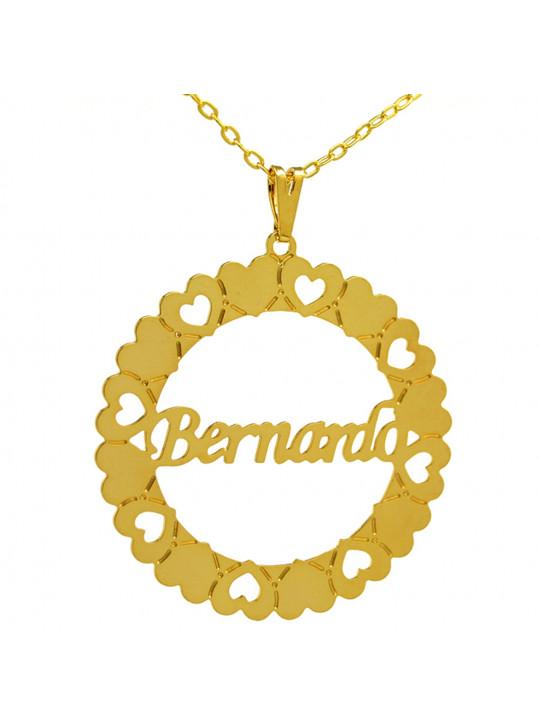 Gargantilha Pingente Mandala Manuscrito BERNARDO Banho Ouro 18 K - 1060034