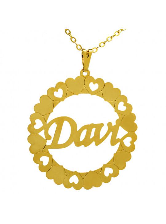 Gargantilha Pingente Mandala Manuscrito DAVI Banho Ouro 18 K - 1060038