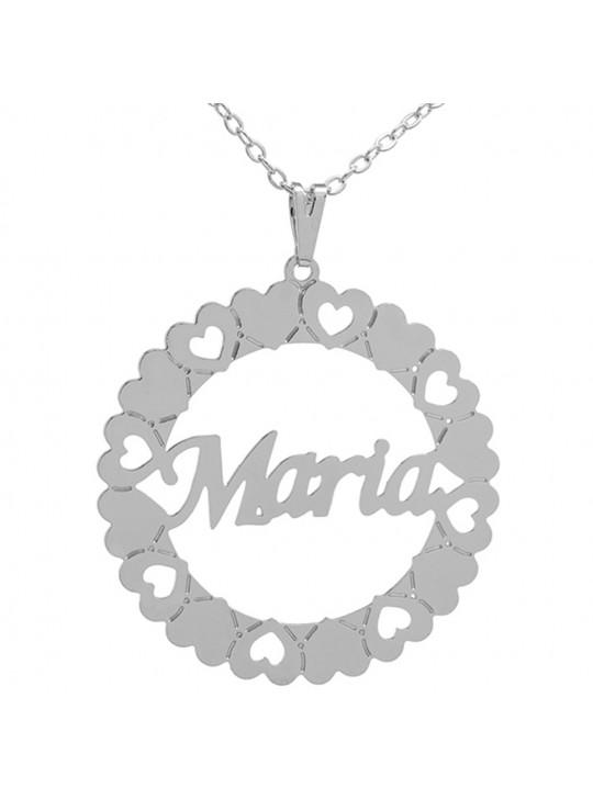 Gargantilha Pingente Mandala Manuscrito MARIA Banho prata 1000 - 2060162