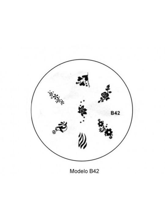 PLACA METÁLICA PARA PERSONALIZAÇÃO DE UNHAS - B42 - DESENHOS ARTÍSTICOS - UNH10019