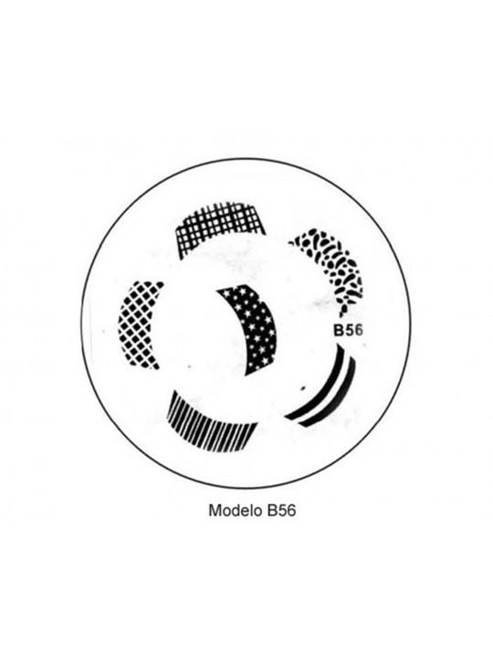 PLACA METÁLICA PARA PERSONALIZAÇÃO DE UNHAS - B56- DESENHOS ARTÍSTICOS -UNH10017