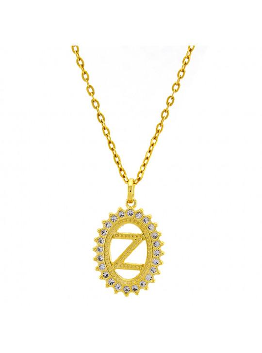 Gargantilha Horus Import Pingente Letra Z Banhada Ouro Amarelo 18 K - 1060225